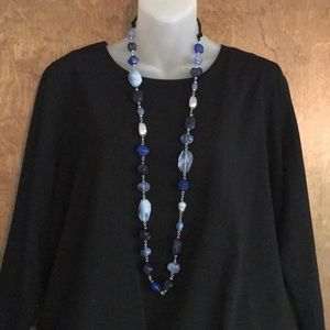 Jewelry - Long large beaded Blue stone necklace